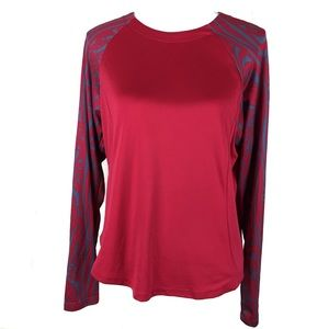 brooks women active long sleeve red pattern large